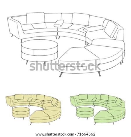 sofa vector - stock vector