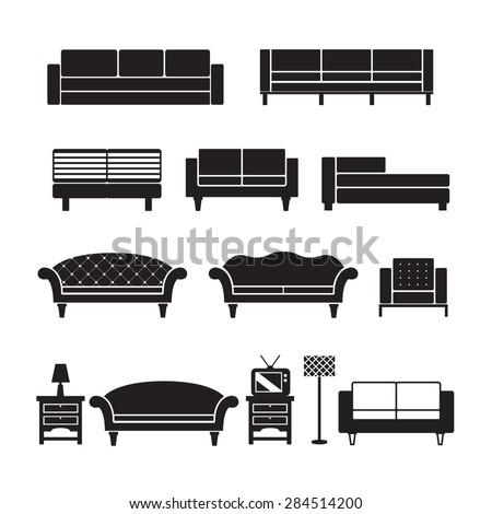 sofa vector,furniture set - stock vector