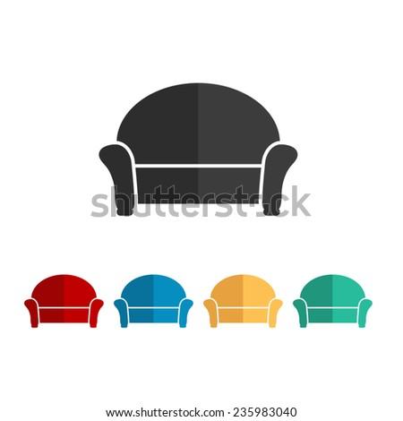 sofa - vector icon, flat design - stock vector