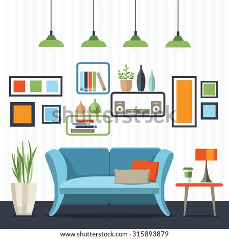 Sofa With Small Table Home Interior Flat Style Vector Illustration