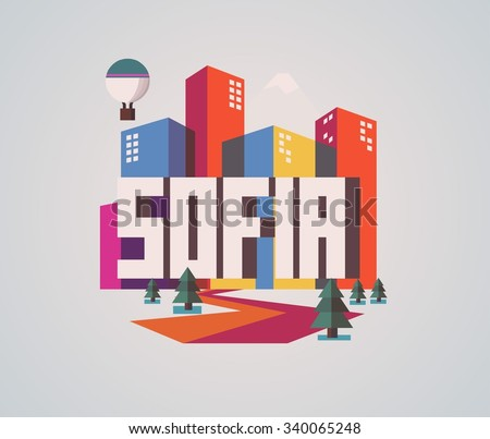 Sofia city in Bulgaria is a beautiful destination to visit for tourism. - stock vector