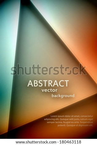 Soft abstract triangle background with a sample text. Easily editable text shadow. EPS10 vector. - stock vector