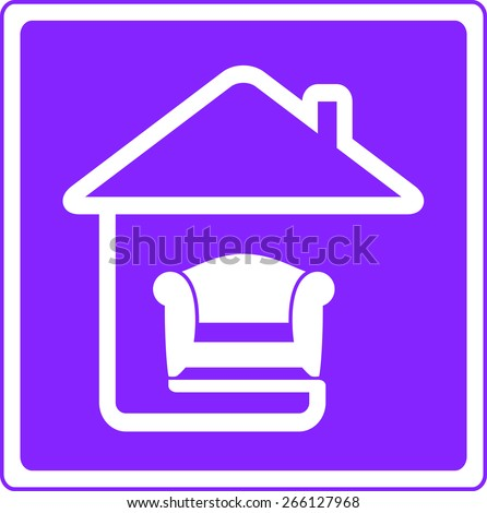 soft armchair on home silhouette interior symbol - stock vector