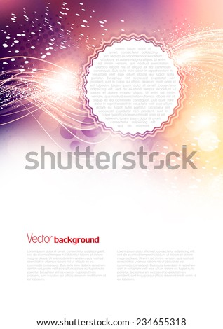 Soft artistic Christmas background. Abstract romantic sparkle dynamic winter flyer for holiday. Vector template - stock vector