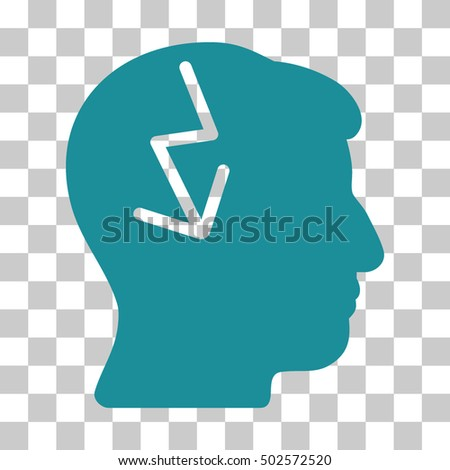 Soft Blue Brain Electric Strike interface icon. Vector pictograph style is a flat symbol on chess transparent background.