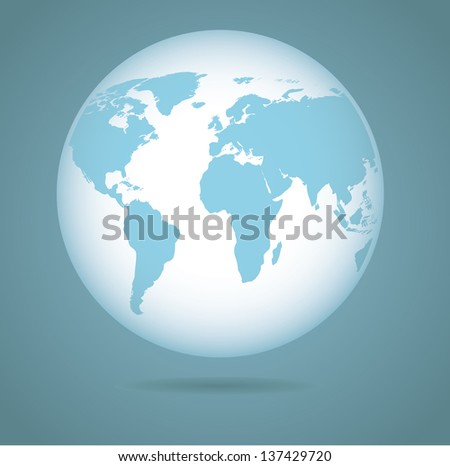 Soft Blue Globe. Portions of this image supplied by NASA. EPS 10 vector, grouped for easy editing. No open shapes or paths. - stock vector