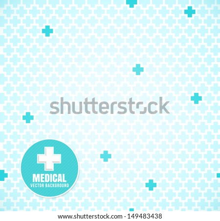 Soft Blue medical seamless pattern with crosses - stock vector