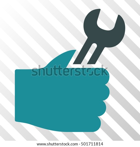 Soft Blue Service Hand interface icon. Vector pictograph style is a flat bicolor symbol on diagonal hatch transparent background.