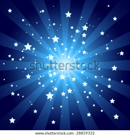 Soft Blue Starburst with Stars
