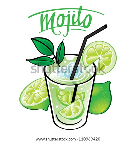 soft cold fresh alcohol drink with ice and mint - Mojito - stock vector