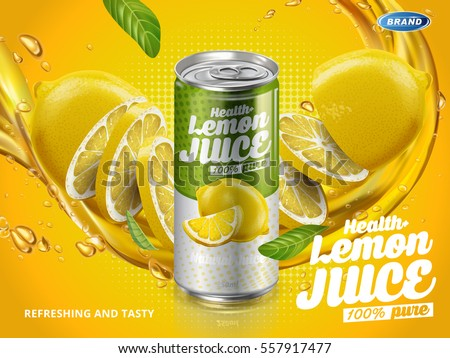 soft drink lemon flavor contained in green metal can, cut lemon elements background