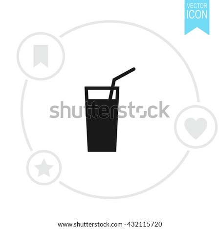 Soft drink vector icon. Glass of water