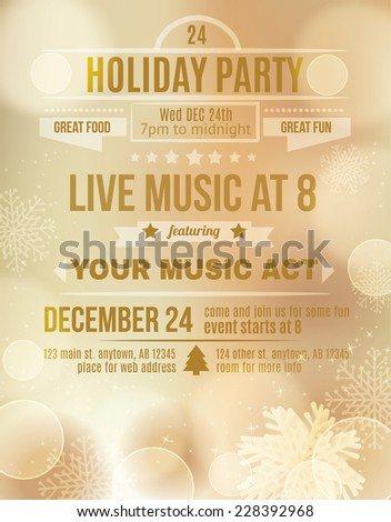 Soft Gold Holiday party invitation flyer - stock vector