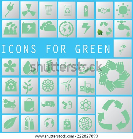 soft green color recycle icons on white color square