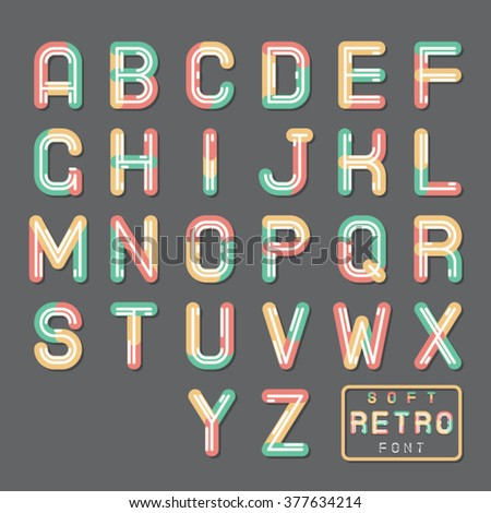 Soft Line Abstract Retro Vintage Hopster Alphabet A Z Font Symbol Icon Vector Illustration - stock vector