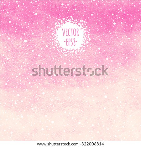 Soft pink winter watercolor vector abstract background with falling snow splash texture. Christmas, New Year painted template. Gradient fill. Hand drawn snowfall texture. Snowflakes are removable. - stock vector