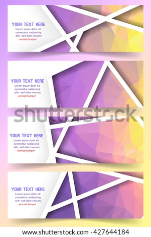Soft purple business banners set. Vector illustration.