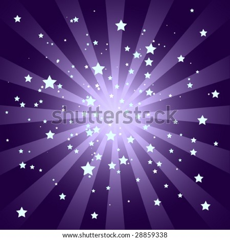 Soft Purple Starburst with Stars - stock vector