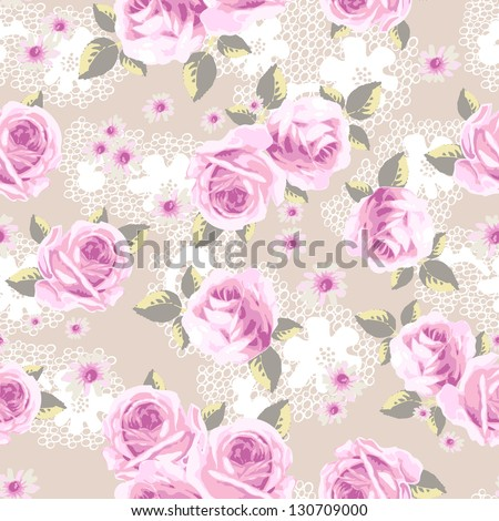 soft roses over lace seamless background - stock vector