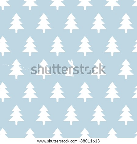 soft seamless winter background with rabbit - stock vector