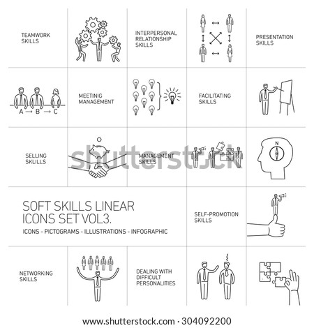 Soft skills linear vector icons and pictograms set of human skills in business and teamwork black on white background