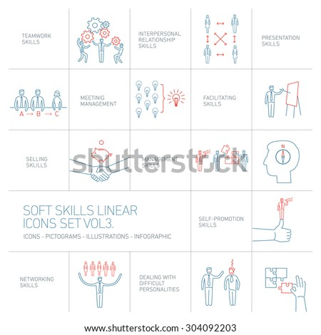 Soft skills linear vector icons and pictograms set of human skills in business and teamwork blue and red on white background