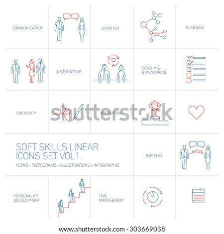 Soft skills vector linear icons and pictograms set blue and red on white background - stock vector