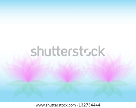 Soft transparent water lilies flowers with pink petals and green leaves - stock vector