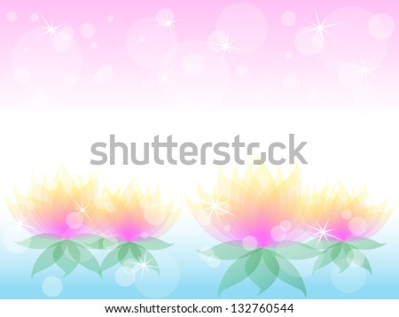 Soft transparent water lilies flowers with yellow and pink petals over airy background with bokeh - stock vector