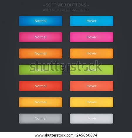 Soft web buttons set, with normal and hover states.