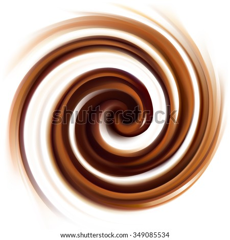 Soft wonderful mixed dark beige curvy eddy ripple luxury fond. Beautiful yummy volute fluid melt sweet choco cremy surface with space for text on glowing milky white stripe in middle of funnel - stock vector
