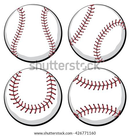 softball baseball ball four styles sport stock vector hd royalty rh shutterstock com baseball ball clipart basketball ball clip art