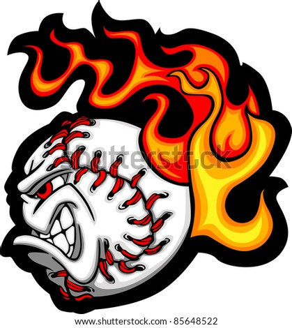 Softball or Baseball Face Flaming Vector Cartoon - stock vector