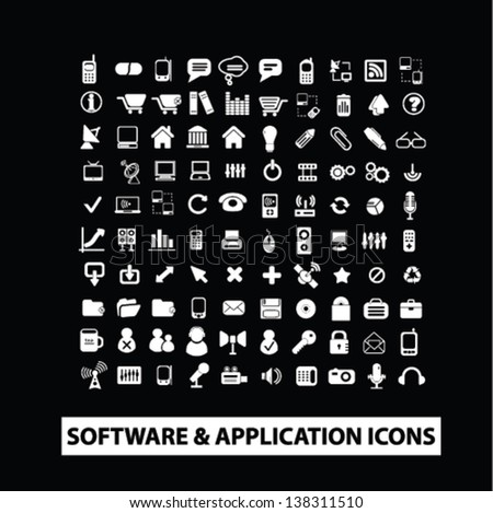software, application, website, internet design isolated icons set on black background, vector - stock vector