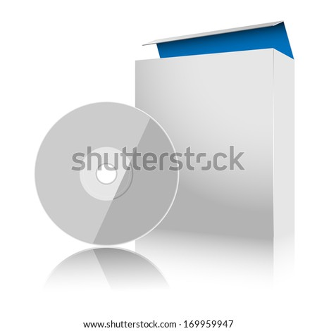 Software Box and Disc on white background. Vector. Illustration.