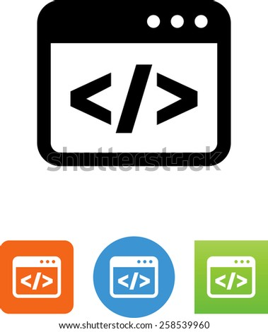 Software code symbol for download. Vector icons for video, mobile apps, Web sites and print projects.  - stock vector