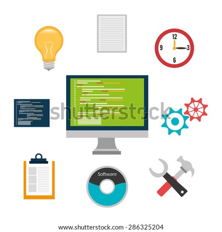 Flat line design concept finance market stock vector Vector image software