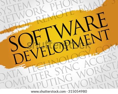 Software development word cloud concept - stock vector
