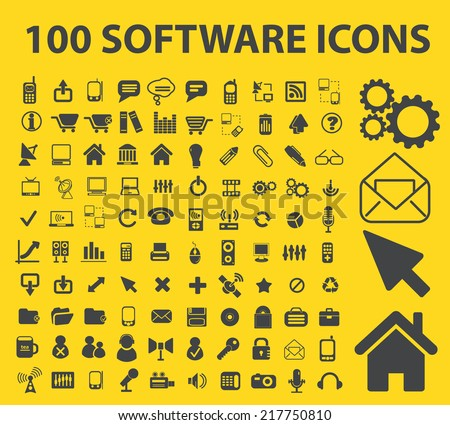 software icons, signs, illustrations, vectors, symbols set - stock vector