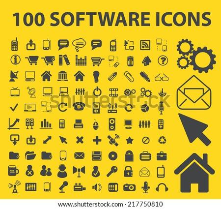software icons, signs, illustrations, vectors, symbols set - stock vector
