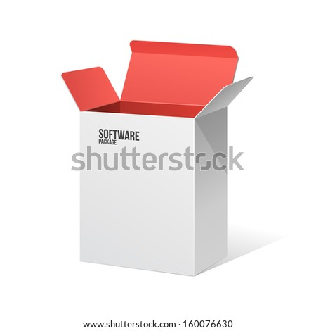 Software Package Box Opened White Inside Red - stock vector