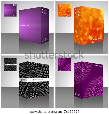 Software package box. Product vector design.