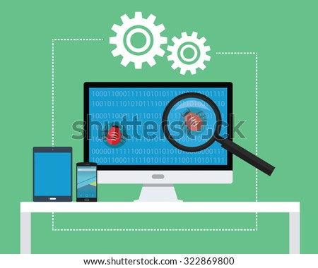 software testing all devices find bugs and tester - stock vector