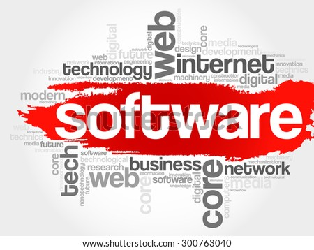 Software word cloud, business concept - stock vector