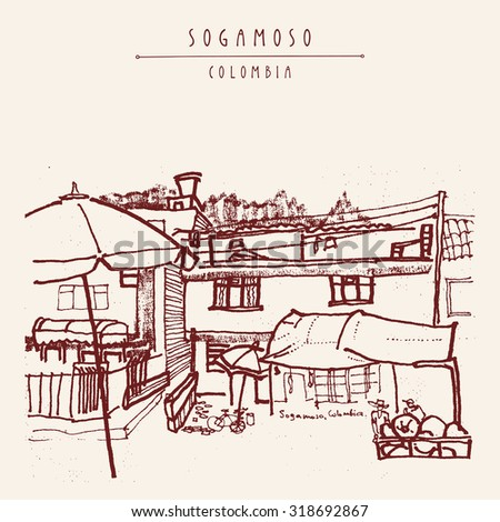 Sogamoso, Colombia, South America. Street market, local store, food shop. Hand drawn vintage postcard template in vector