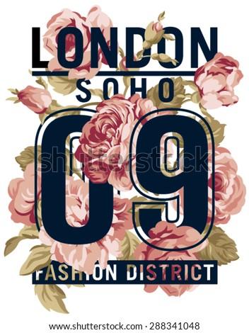 Soho London Roses,  vector artwork for women wear in custom colors - stock vector