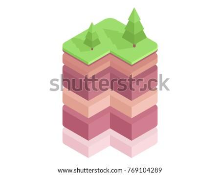 Soil Layers Diagram Isometric Soil Horizons Stock Vector 769104289
