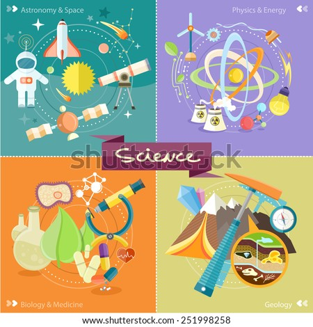Soil Layers with dinosaur fossil. Space and astronomy. Physics energy. Laboratory workspace and workplace concept. Chemistr physics, biology. Concept in flat design cartoon style on stylish background - stock vector