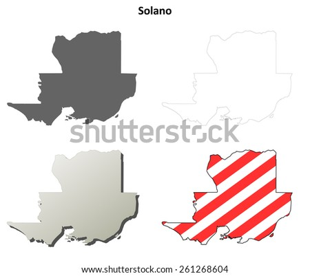 Solano County (California) outline map set - stock vector