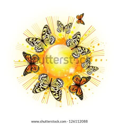 Solar abstraction with butterflies. vector - stock vector
